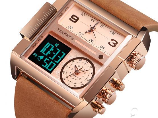 TEEKEY'S TK1391 Men Luxury Brand Sports Military Leather/PU Strap Analog Digital watch