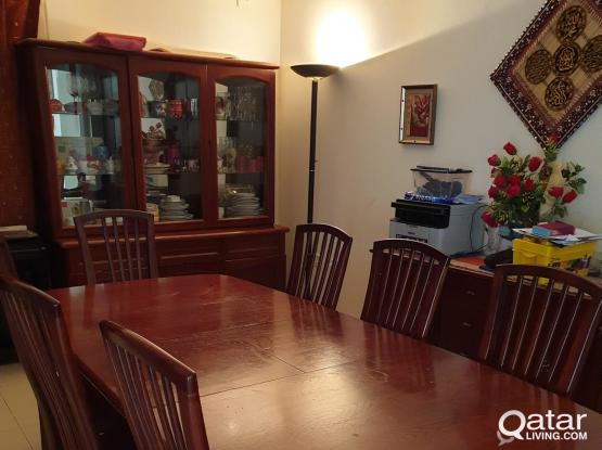Dining table with 8 chairs, Buffet and Hutch