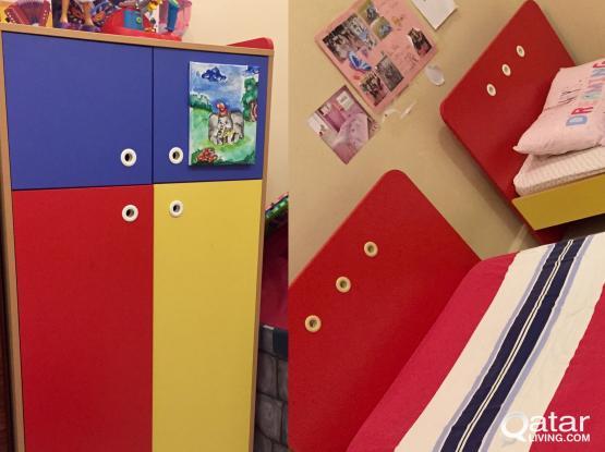 Home center -2 kids beds & mattresses + wardrobe
