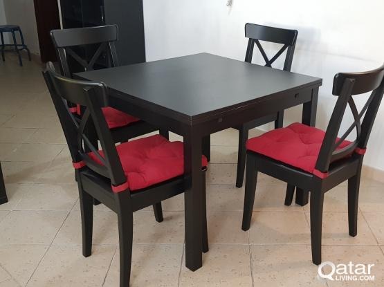 IKEA Expandable dining table and 4 chairs