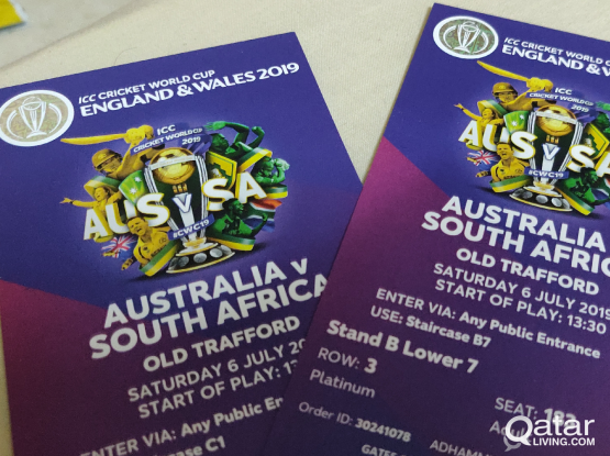 Cricket world cup tickets 2019 platinum QAR850