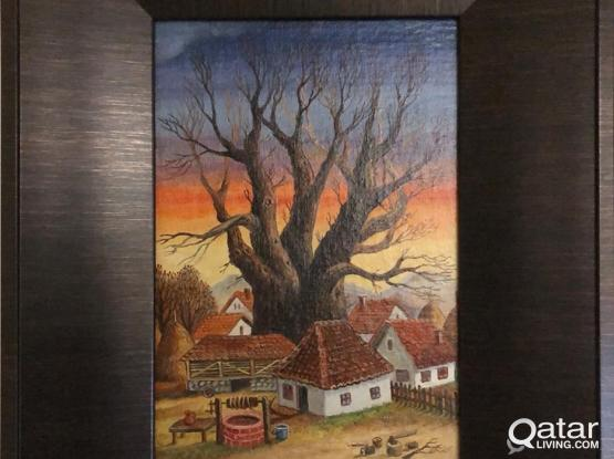 "Oil Painting ""The Tree in the Village Center"" 26x46cm"