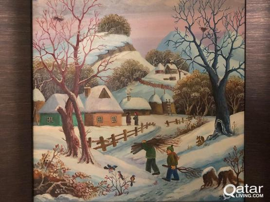 "Oil Painting ""Serbian Village Center Covered in Snow"" 56x66cm"