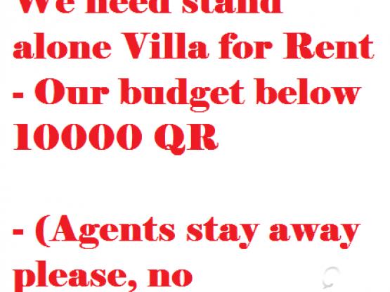 Villa Required - Standalone Villa Needed - We need Villa