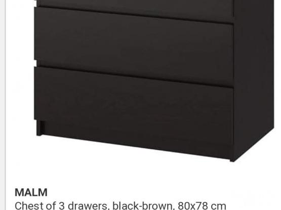 IKEA 2 Wardrobe + 1 Mirror Black For Sale  3 pic fore sale QR 550  Call Mob /Show number