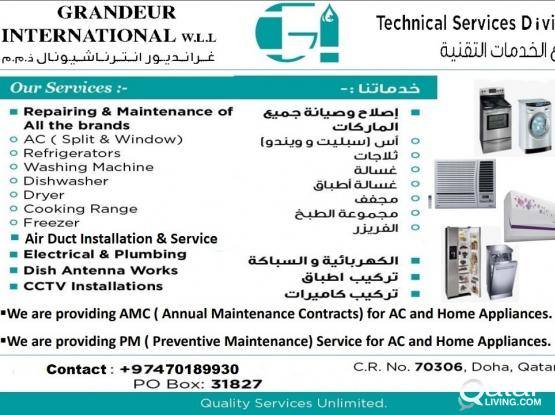 AC, AirDuct & Home Appliances Repair \ Service (Home\Commercial) Any Where in Qatar call 70189930, Kerala Technicians