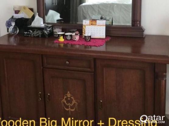 Big Mirror + Dressing Table, Wardrobe Big size
