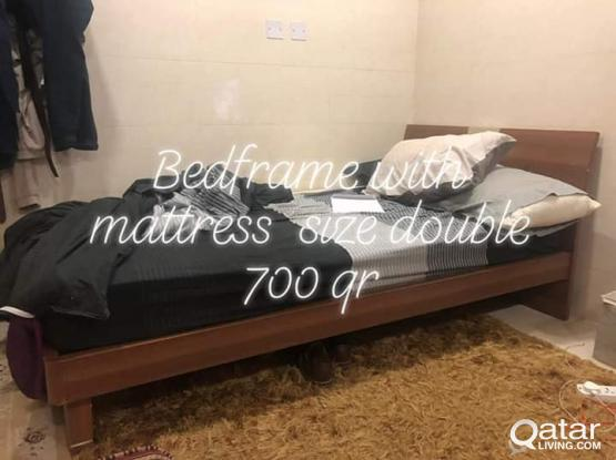 Urgent Sale furniture For Bed with mattress & Cupboard