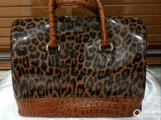 FURLA Leather Rubber Candy Leopard Satchel