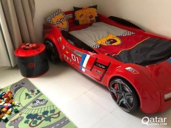 Large Kids Cilek GTS Car Bed and Nightstand Toybox