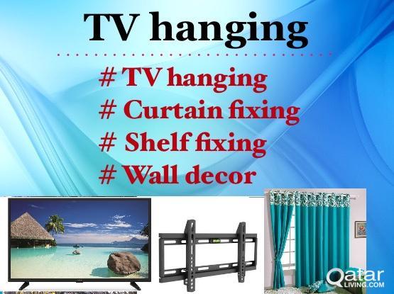 TV hanging , Curtain fixing, wall shelf fixing- 66971726