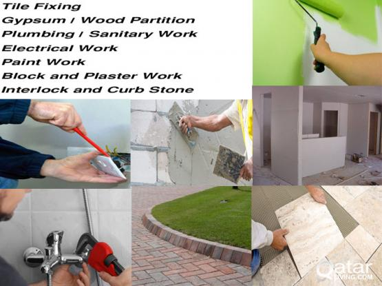Partition /Tile/Paint/Interlock/Block/Plaster/Paint etc. All Kind of Maintenance