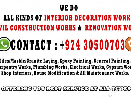 We Are CIVIL CONTRACTORS, INTERIOR DESIGNERS, RENOVATORS & MAINTAINERS.