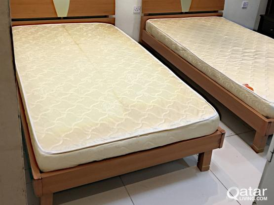 For Sell 2 Single Bed With Mattress Size(110*200)cm