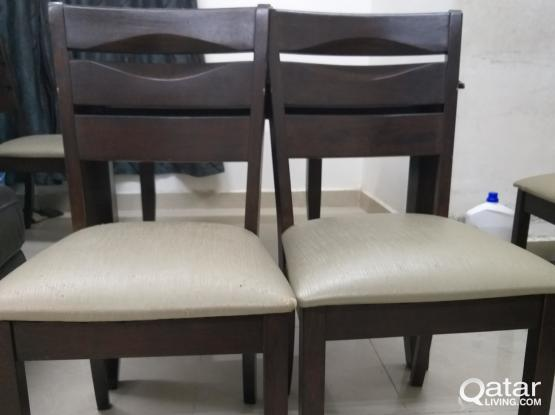 Wooden Dining Table with 4 cushion chairs