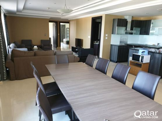 Furnished 3 bed rooms + maid's room apartment in Porto Arabia for rent