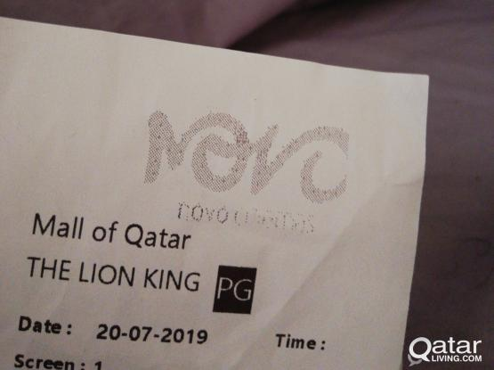 2 ticket MX4D for Lion King Movie in Novo Mall of Qatar at 6.30pm
