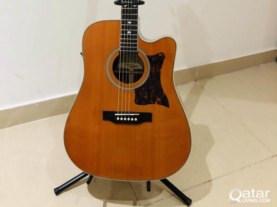 All Solid Acoustic Electric Guitar