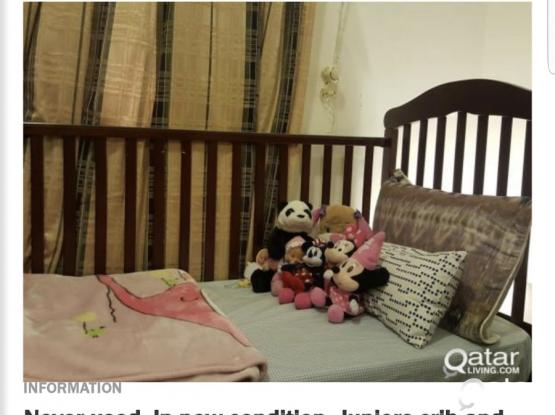 Juniors crib along with bedding and mattress