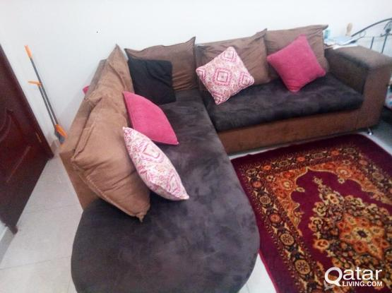 L shape Sofa (used) in good condition. Can use as bed. Urgent sale. Qr 350
