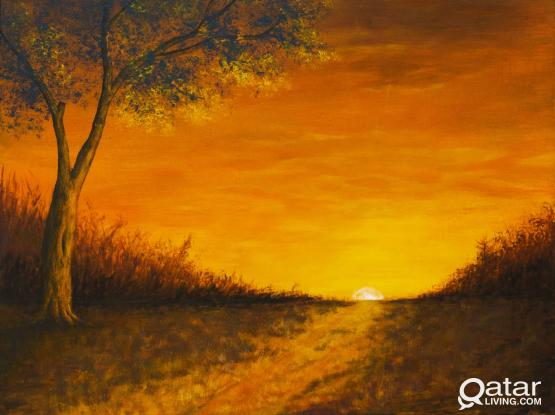"Acrylic on Canvas  ""Early morning in the field"""