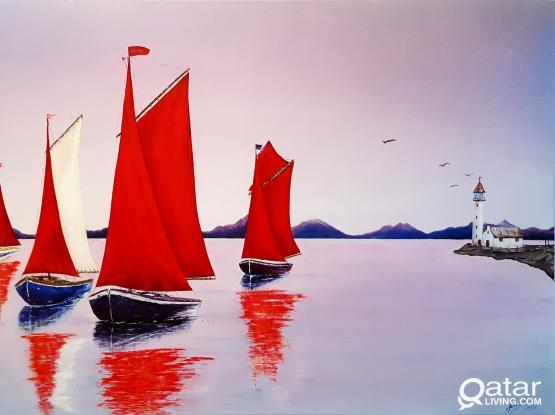 """Acrylic painting """" Morning Sailing Boats"""""""