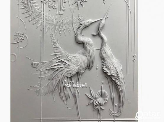 Wall 3d bas relief decoration works