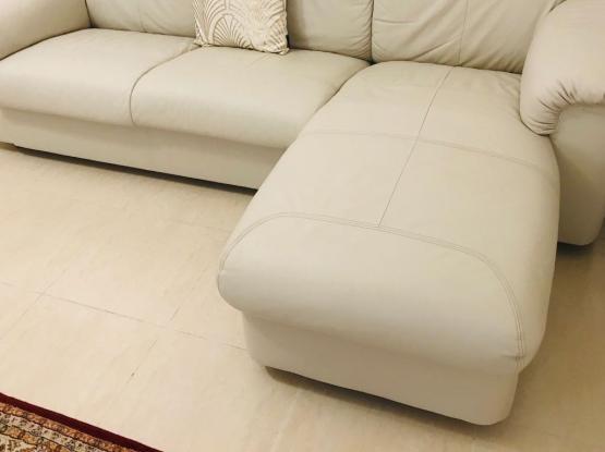 Genuine leather L shape sofa