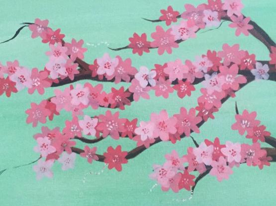 cherry blossoms painting on stretched canvas