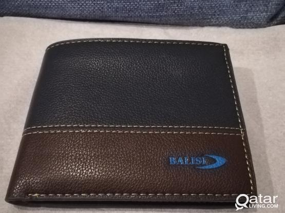Blue and Brown leather wallet, Man's, brand new