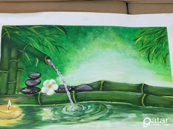 Acrylic painting (Feel the aroma of bamboo)