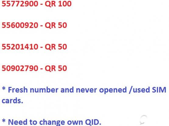 Mobile Numbers For Sale - QR 100 & 50 Only.