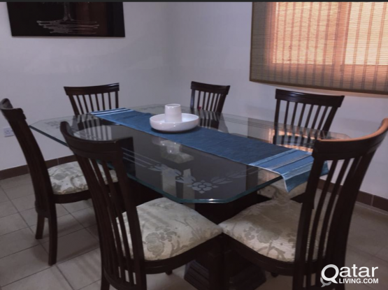 Custom Made 6ft Glass Dining Table With Wooden Chairs And Base