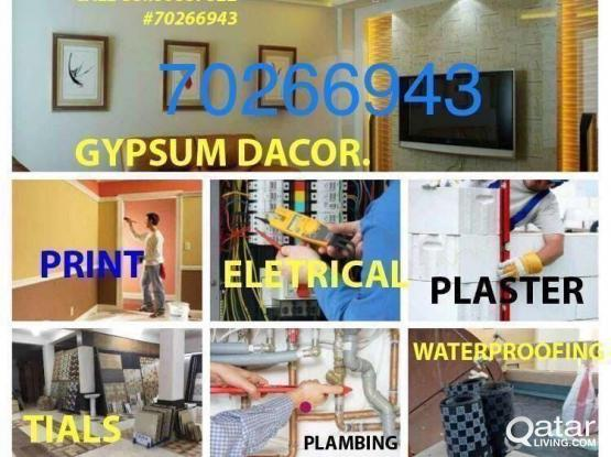 ELECTRICAL WORK PLUMBING  GYPSUM PORTION CALL 70266943  MAINTENANCE WORK painting work  Plumber Electric