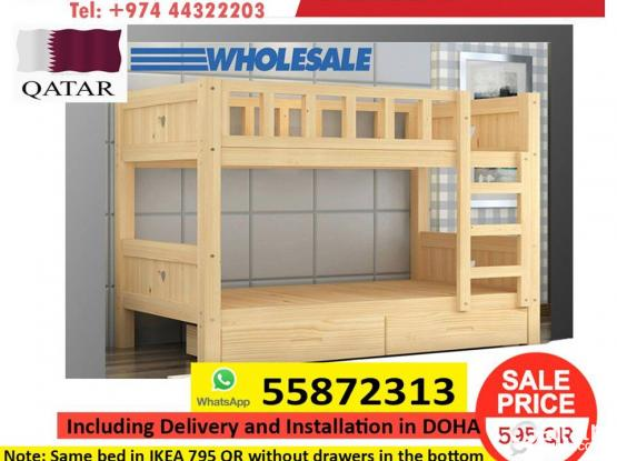 KIDS WOOD BUNK BED WITH FREE INSTALLATION AND DELIVERY
