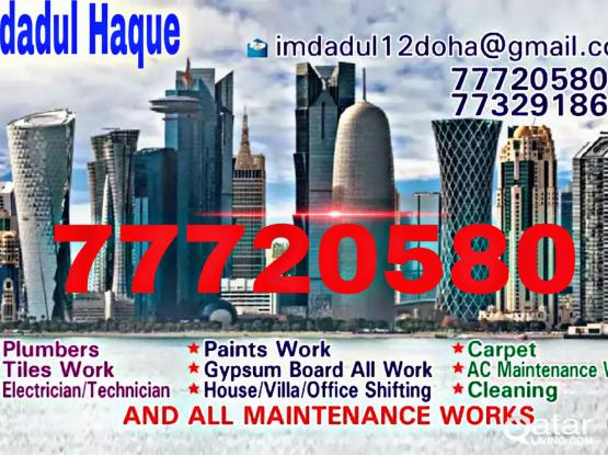 We do Plumbing, paints work, carpet, tiles work, Electric, Gypsum, Cleaning. Please call 77720580