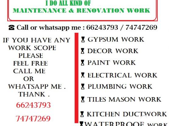 I do all kind of gypsum paint , electrical , plumbing & maintenance work