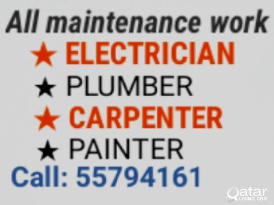 ELECTRIC, PLUMBING, CARPENTER AND PAINTING WORK CALL 55794161 ELECTRICIAN, PLUMBER CARPENTERY,  PAINTER SERVICES MAINTENANCE