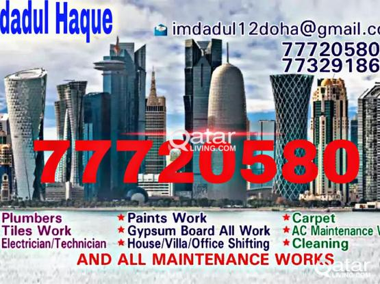 We do Plumbing, paints work, carpet, tiles work,Electric, Gypsum, Cleaning. Please call 77720580