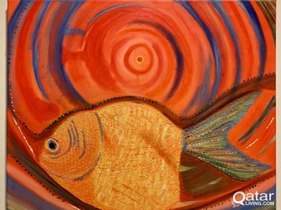 Oil Painting on Canvas frame - Rich colors -Goldfish