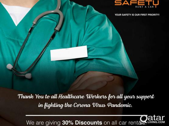 We care for your SAFETY. 30% Discount for Healthcare Workers
