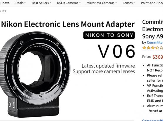 Nikon Lens to Sony E mount Camera (Auto focus Adapter)