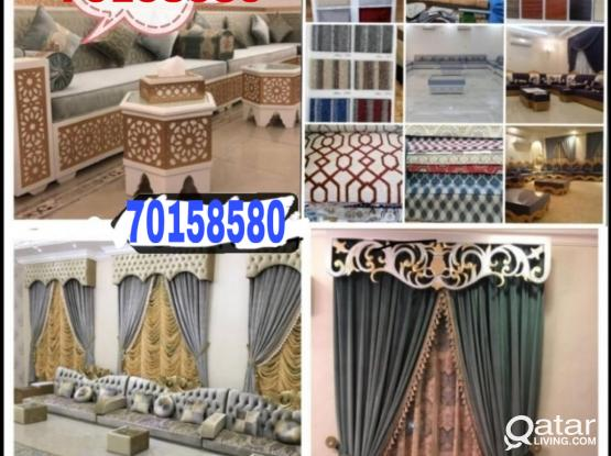 We do all types sofa making/wallpaper sell and fix curtains making fixing with carpet selling with fixing  call me-70158580