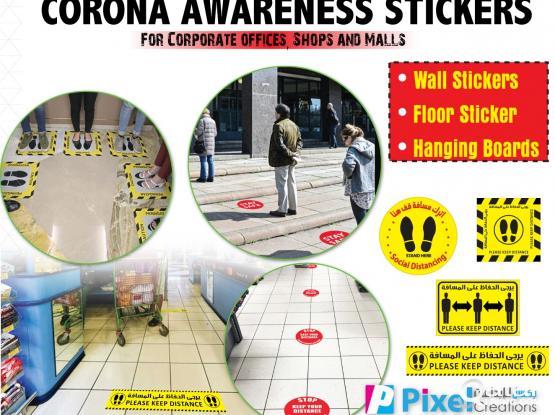 Corona Awareness Stickers/ Social Distancing Stickers