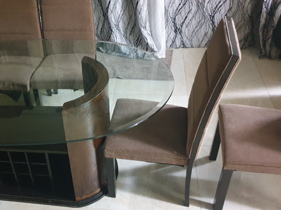 Dining Table, Glass Top. One of a Kind