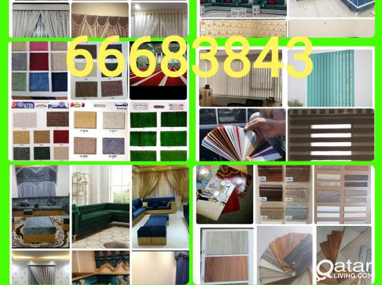 Curtains Carpet Parquets Wallpaper Blackout  Roller Blinds Vertical PVC, Sales New Making & Fixing.Call Me 66683843