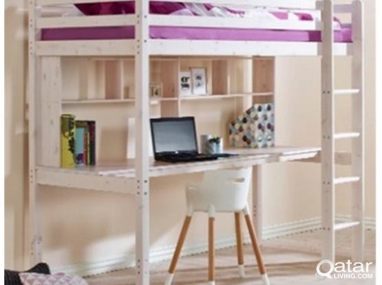 High Bed with desk and shelf - Flexa Hit Basic
