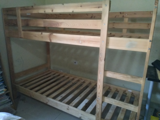 Ikea wood bunk bed with mattress free delivery