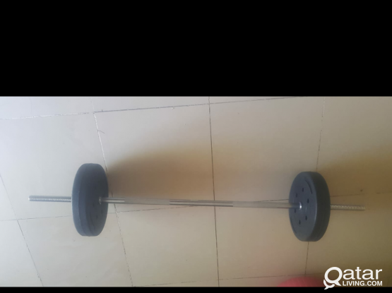 Plastic coated Plates with barbell total 27 kg for sale