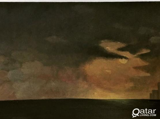 Oil on Canvas board - Storm gathering near Bombay city